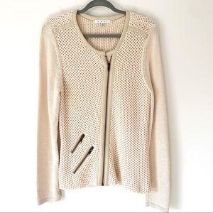 Cabi Cream Moto Zipper Sweater Size Medium